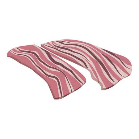 Raw bacon icon, cartoon style