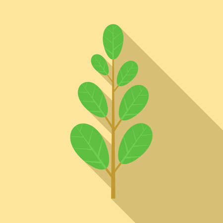 Leafy green icon, flat style Vettoriali