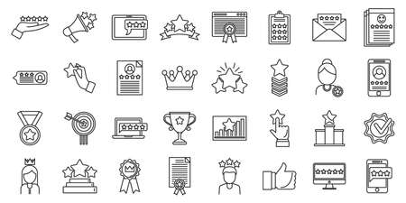 Reputation experience icons set, outline style