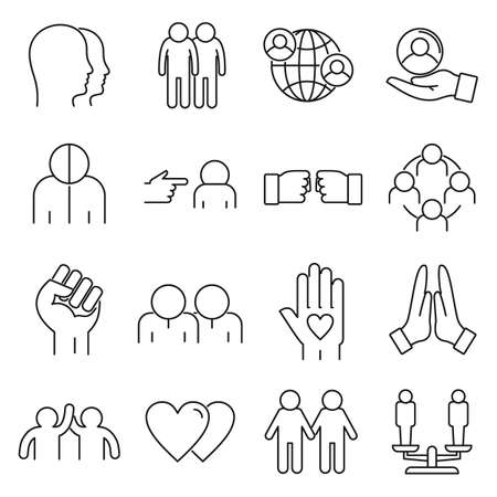 No to racism icons set, outline style Vettoriali