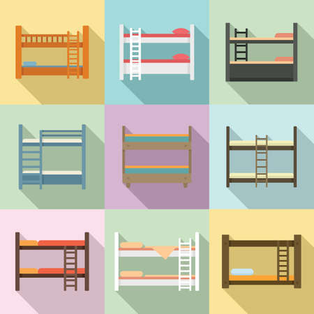 Bunk bed icons set, flat style Vettoriali