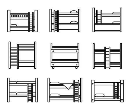 Family bunk bed icons set, outline style