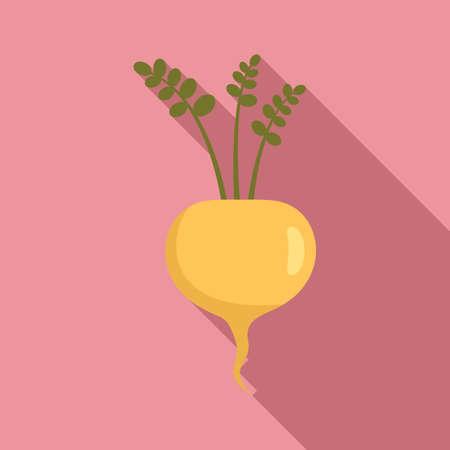 White radish icon, flat style