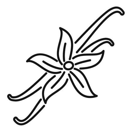 Vanilla flower icon, outline style
