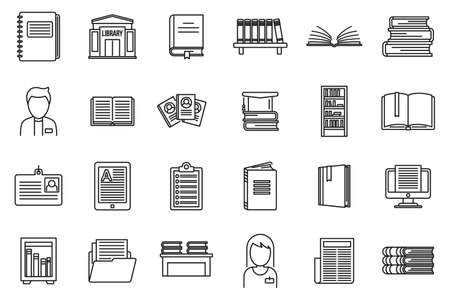 University library icons set, outline style Ilustracja