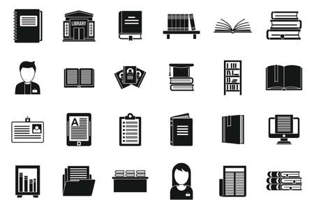 Library book icons set, simple style Ilustracja