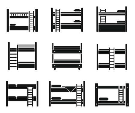 Hotel bunk bed icons set, simple style Ilustracja