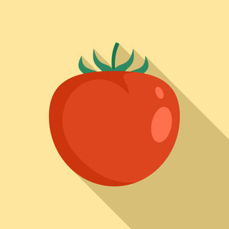 Organic red tomato icon, flat style