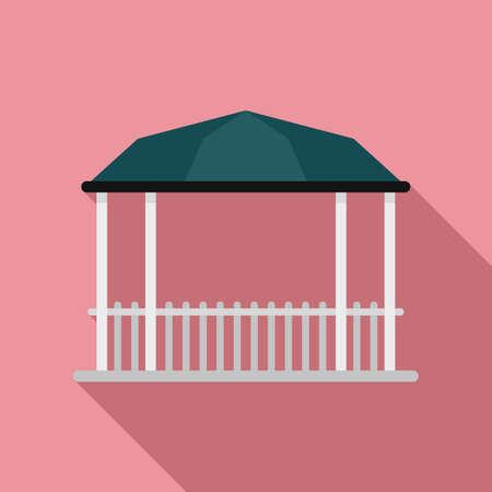 Pavilion gazebo icon, flat style