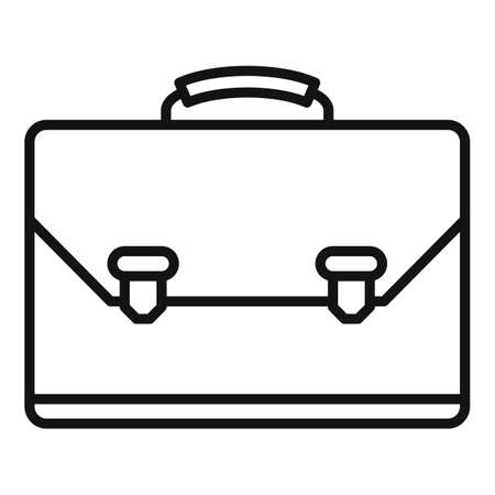 Leather office suitcase icon, outline style