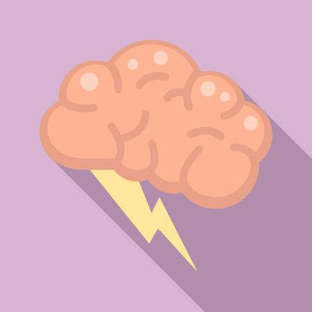 Brain innovation idea icon, flat style Ilustração