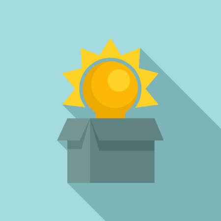 Unboxed idea innovation icon, flat style