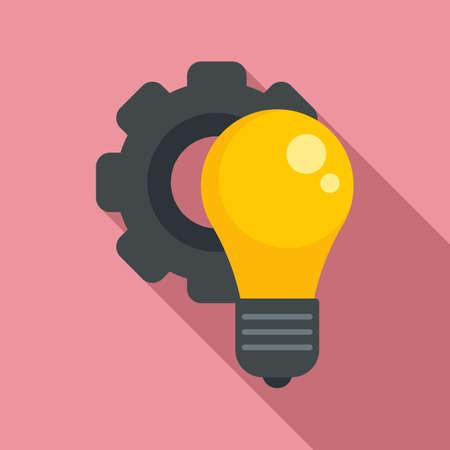 Gear bulb innovation icon, flat style