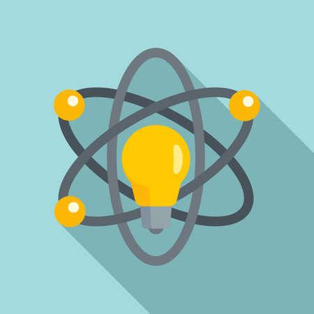 Atom idea innovation icon, flat style Ilustração