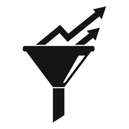 Conversion rate graph funnel icon, simple style