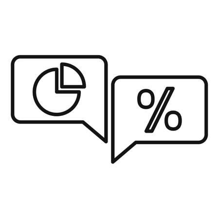 Conversion rate chat icon, outline style Illusztráció