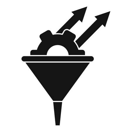 Conversion rate gear funnel icon, simple style