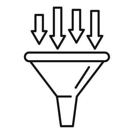 Conversion rate funnel icon, outline style Ilustração