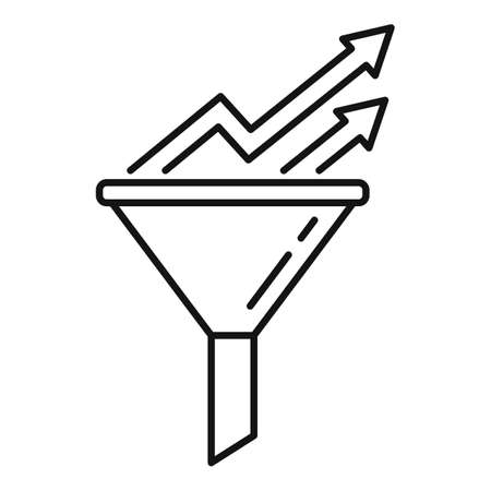 Conversion rate graph funnel icon, outline style