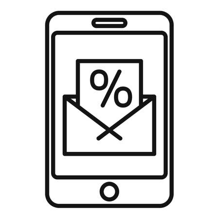 Conversion rate smartphone icon, outline style