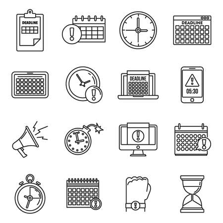 Work deadline icons set, outline style Illustration