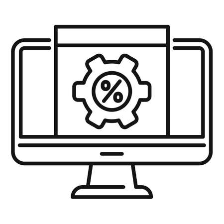 Monitor conversion rate icon, outline style