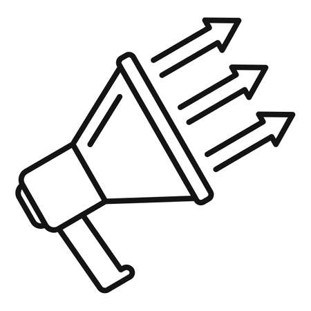 Megaphone conversion rate icon, outline style