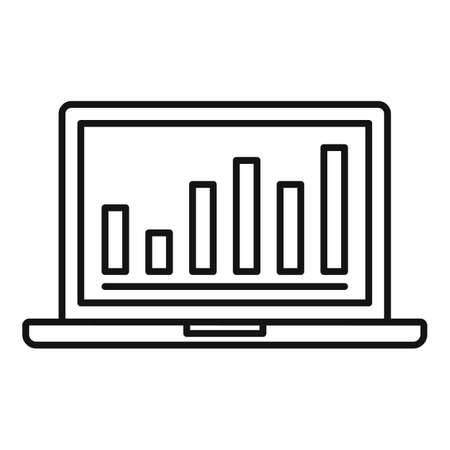 Laptop conversion rate graph icon, outline style Illustration