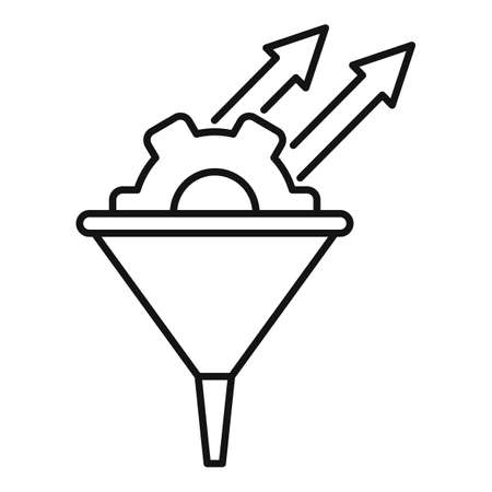 Conversion rate gear funnel icon, outline style