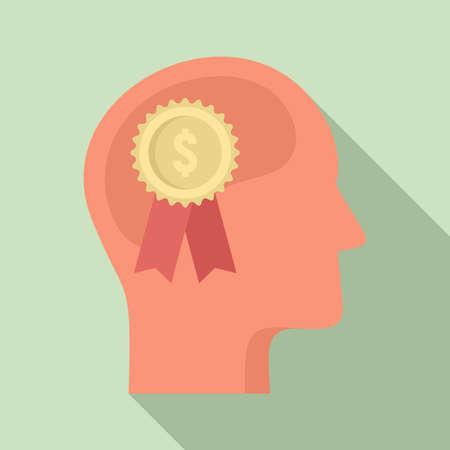 Finance emblem neuromarketing icon, flat style