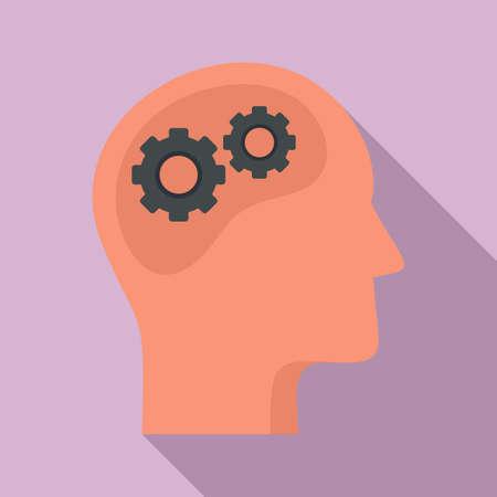 Gear system neuromarketing icon, flat style Ilustração