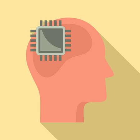Processor neuromarketing icon, flat style
