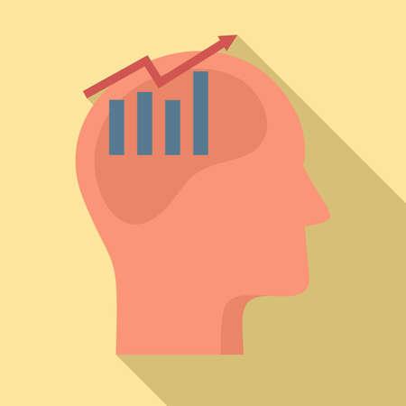 Finance graph neuromarketing icon, flat style Ilustração