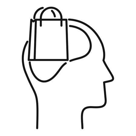 Shop bag neuromarketing icon, outline style
