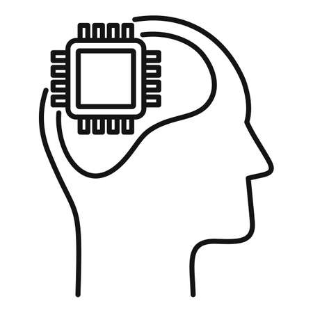 Processor neuromarketing icon, outline style