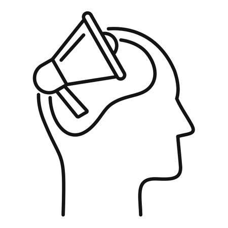 Megaphone neuromarketing icon, outline style