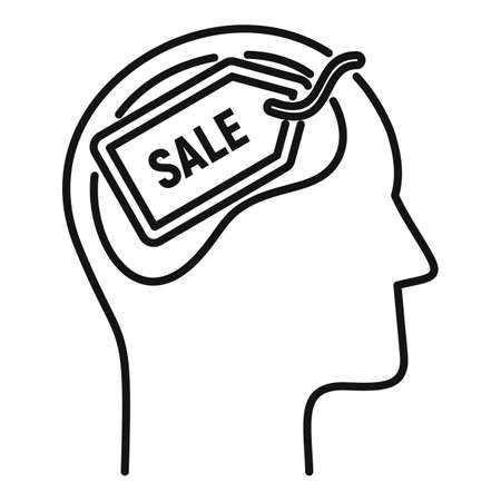 Sale neuromarketing icon, outline style Illustration