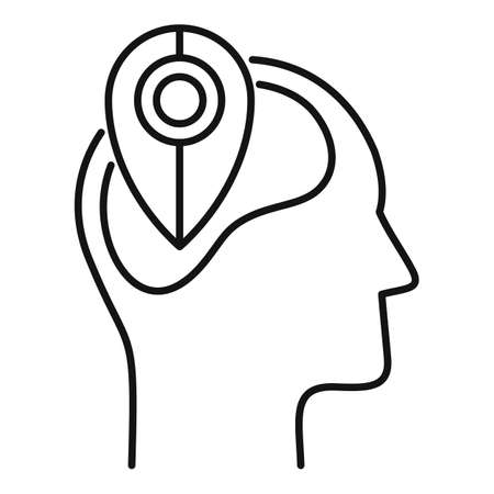 Pin map neuromarketing icon, outline style 矢量图像