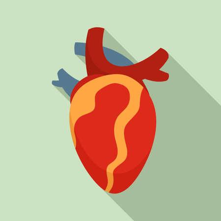 Anatomy human heart icon, flat style