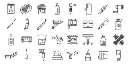 City tattoo studio icons set, outline style