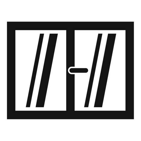 Plastic window installation icon, simple style
