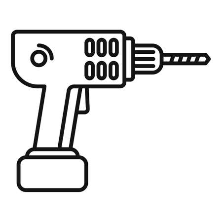 Electric drill icon, outline style Vetores