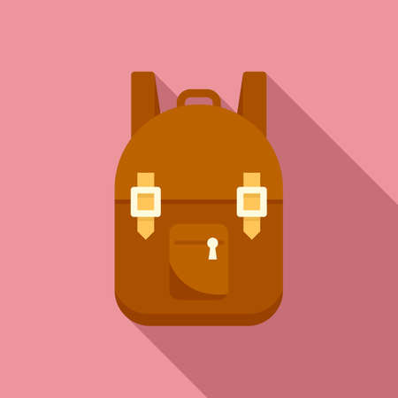 Survival backpack icon, flat style