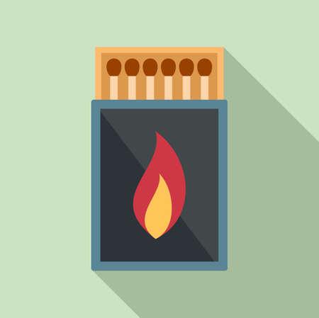 Survival matches box icon, flat style Ilustracja