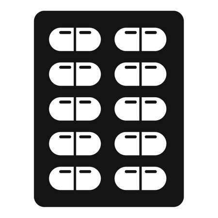 Survival pills blister icon, simple style