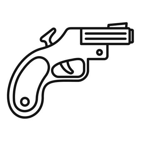 Flare gun icon, outline style 矢量图像