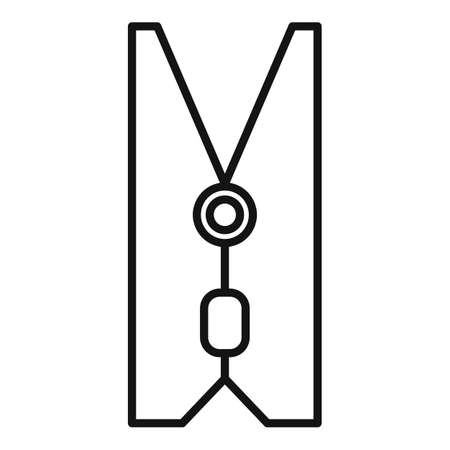 Rope clothes pin icon, outline style