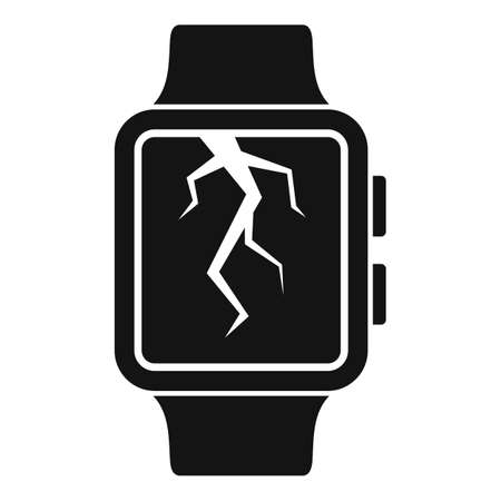 Crack display smartwatch repair icon, simple style