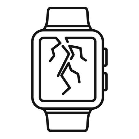 Crack display smartwatch repair icon, outline style 向量圖像