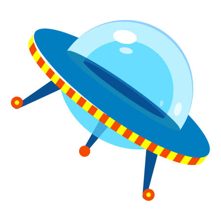 Flying ufo icon, cartoon style